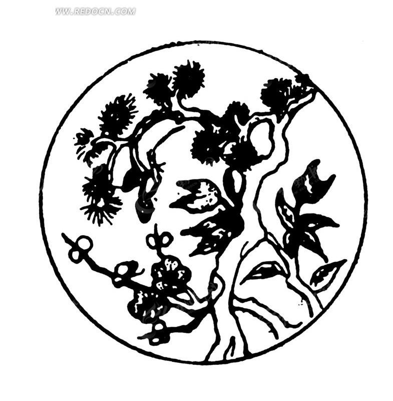 手绘圆圈里的松树矢量图_传统图案