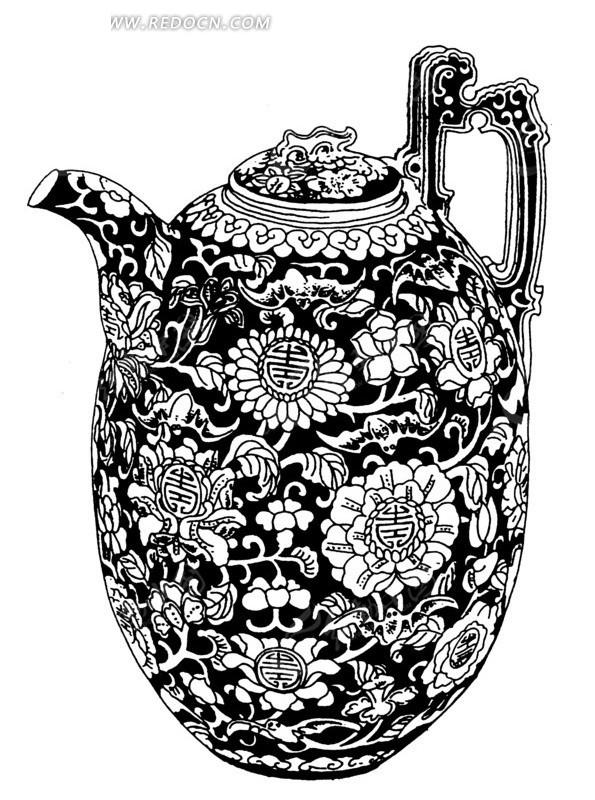 手绘花纹精美的茶壶