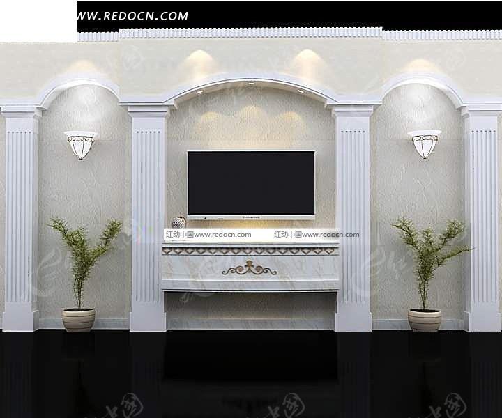 三拱带罗马柱电视墙3dmax模型图片