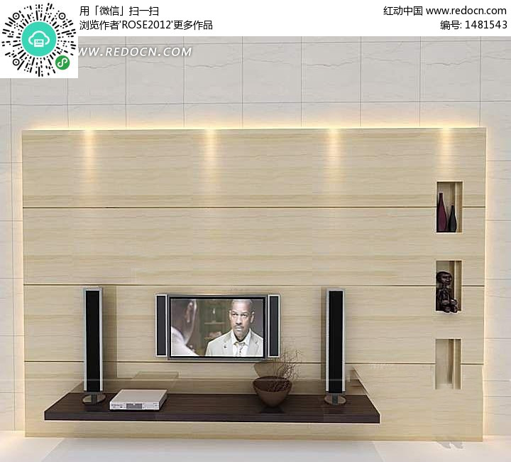 浅色系电视背景墙3d效果图