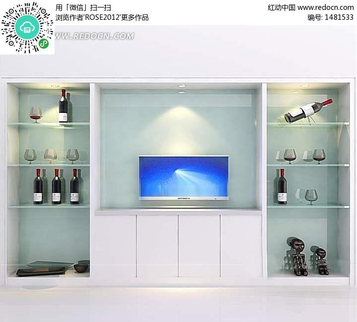 酒柜式电视背景墙3d效果图