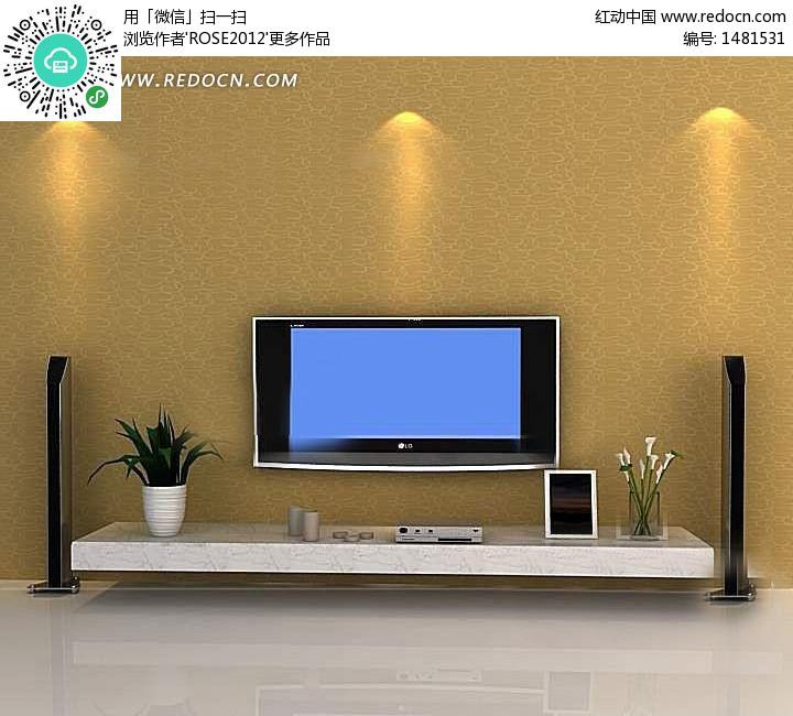 带投影灯光效果电视背景墙3d效果图