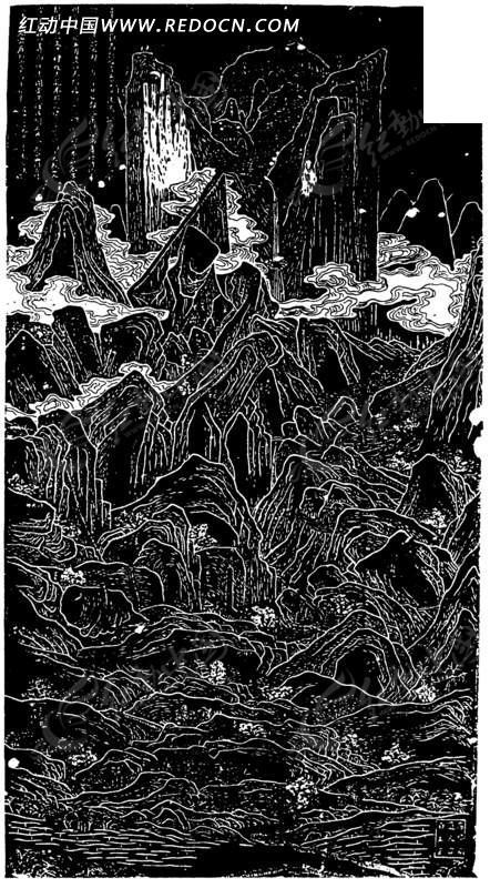 中国古典线条画-太华全图