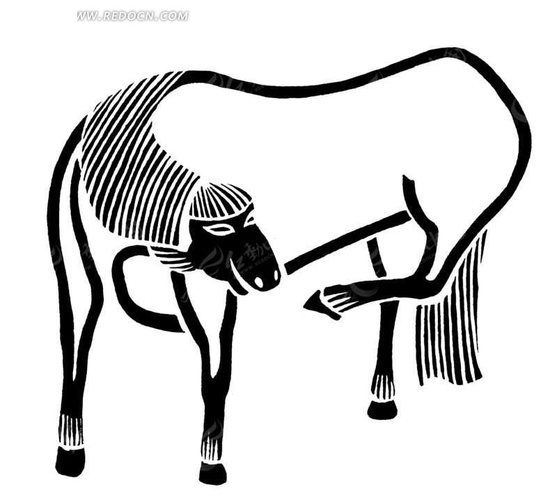 黑白 线条 动物 马 马蹄 绘画 动物素材 传统图案 矢量素材