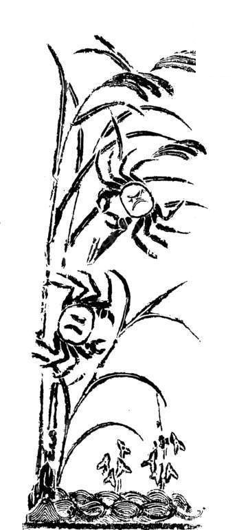 草 植物 螃蟹 动物 拓印图 矢量素材 传统图案