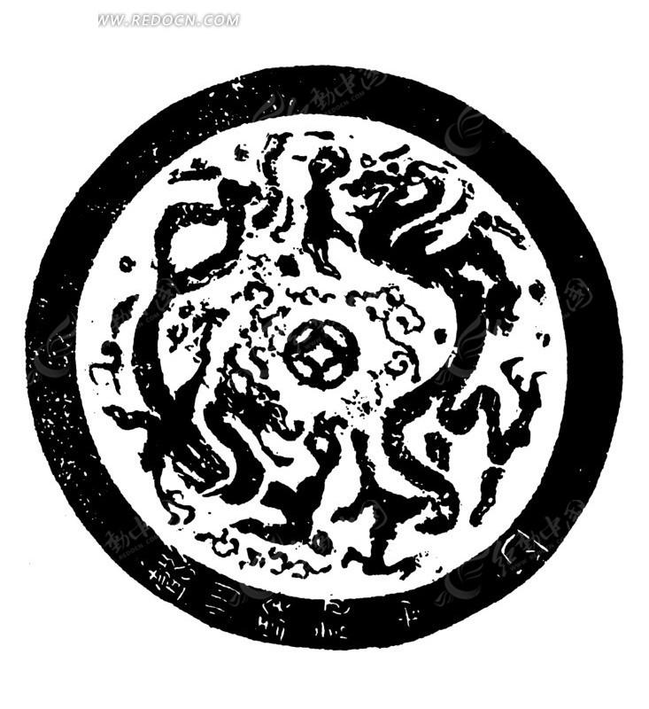 动物 斑驳 模糊 圆形图案 中国风 中国古典 艺术 装饰 黑白  传统图案