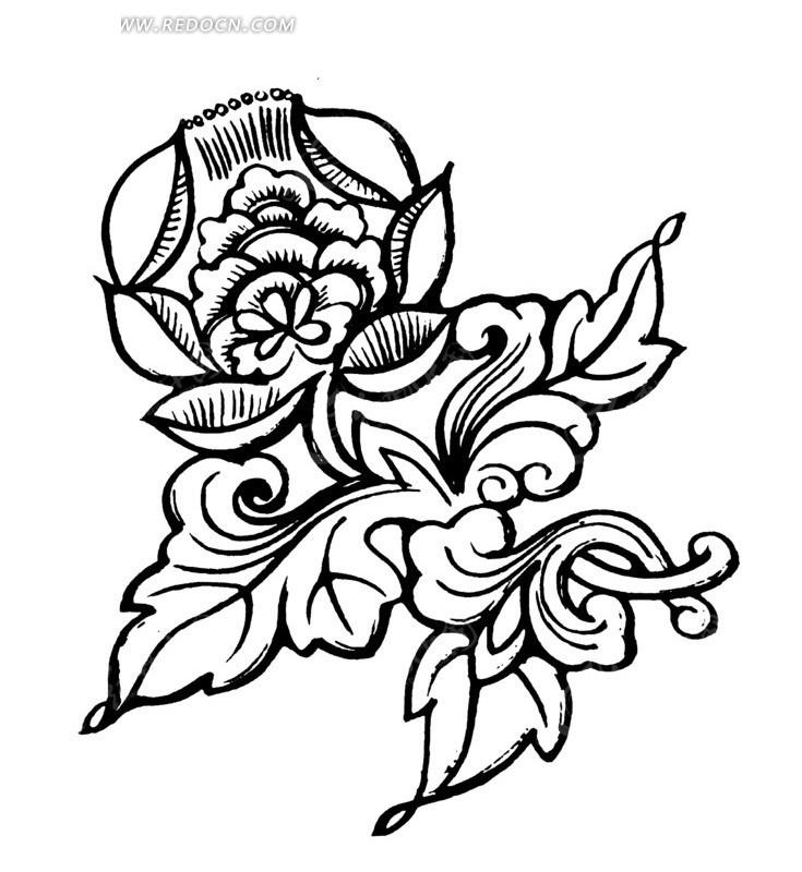 免费素材 矢量素材 艺术文化 传统图案 手绘美丽的花朵花纹插画图形