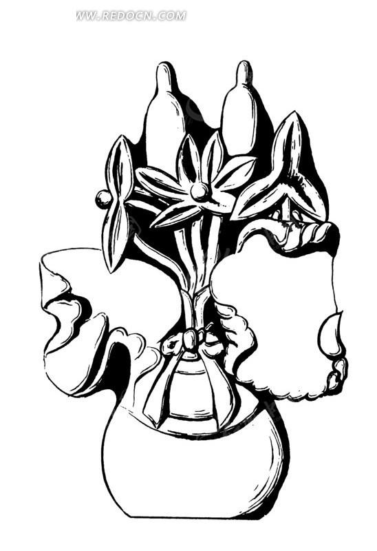 矢量古代盆栽花朵花卉插画图形