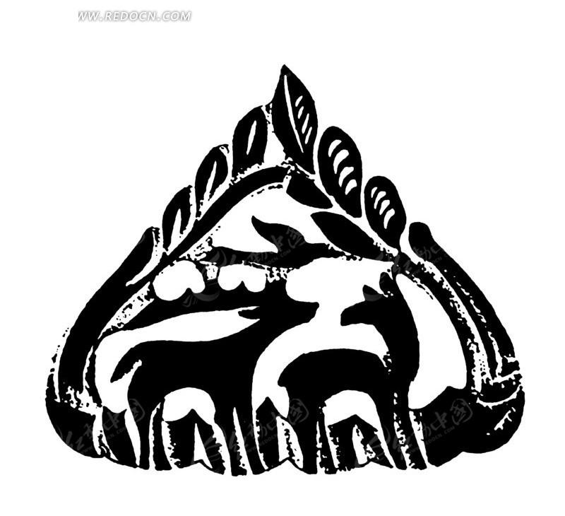 中国古典图案-鹿和叶子构成的图案图片