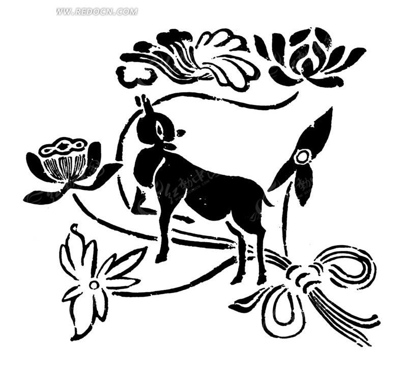 中国古典图案 动物和花朵叶子构成的图案矢量图 传统图案图片