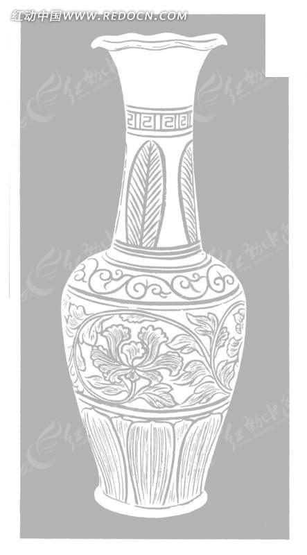 中国古代器物-瓶子上的卷曲的藤蔓和花朵