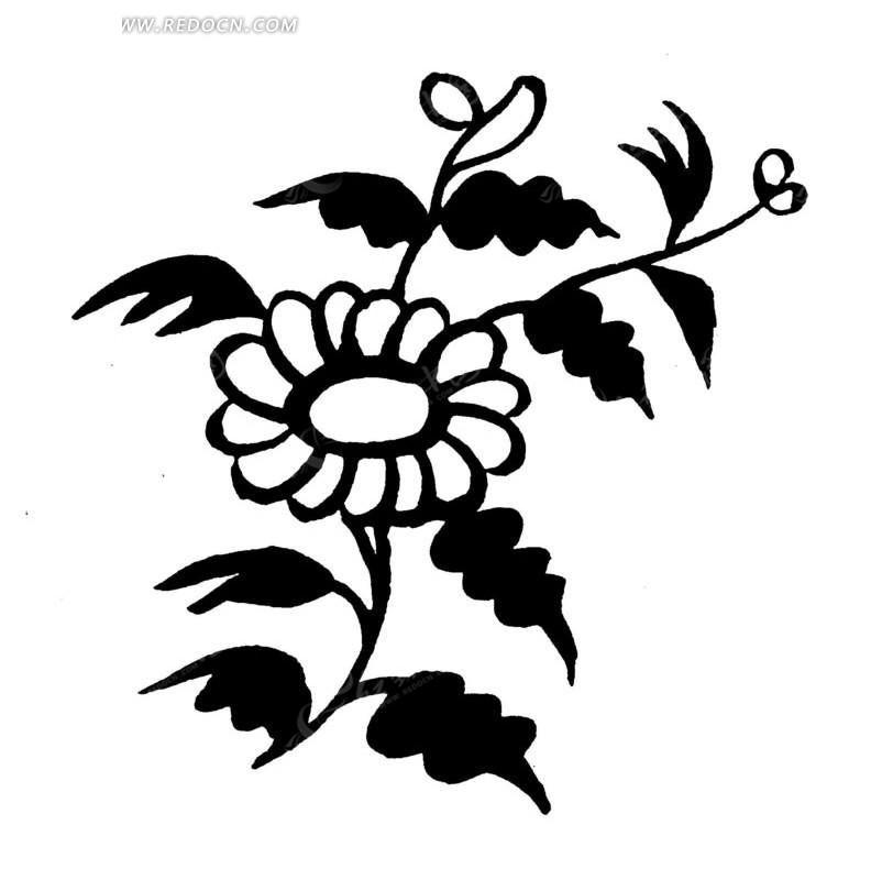 矢量手绘黑色花朵叶子插画