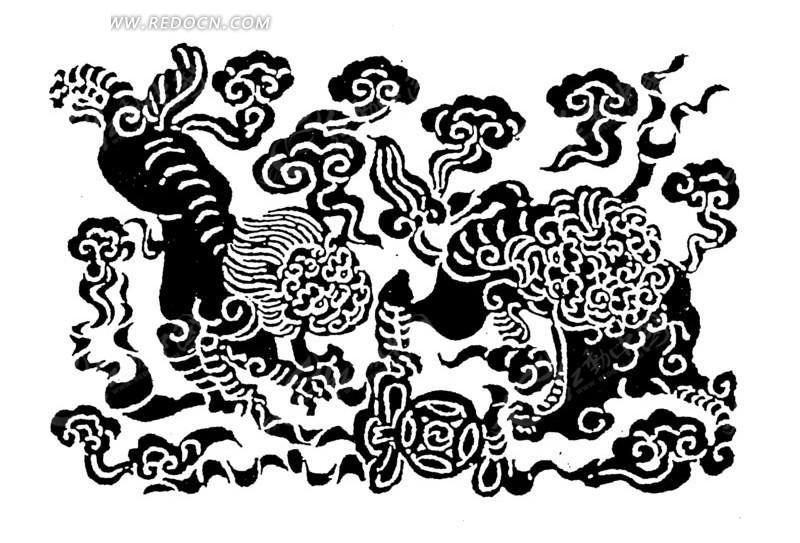 中国古典图案-动物和云纹构成的精美图案矢量图图片