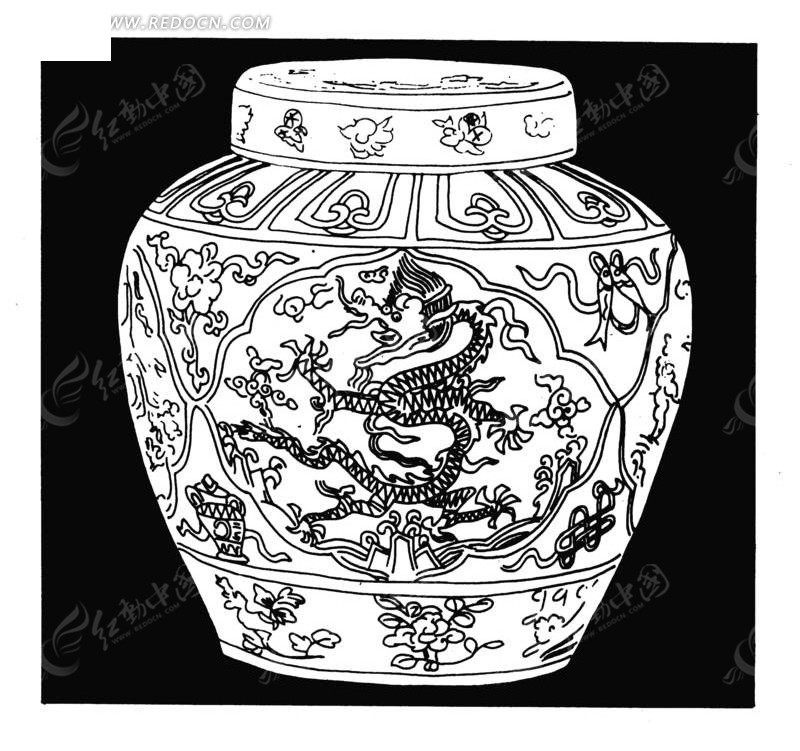 传统图案 > 中国古代器物-坛子状古物上的龙纹和花朵图片
