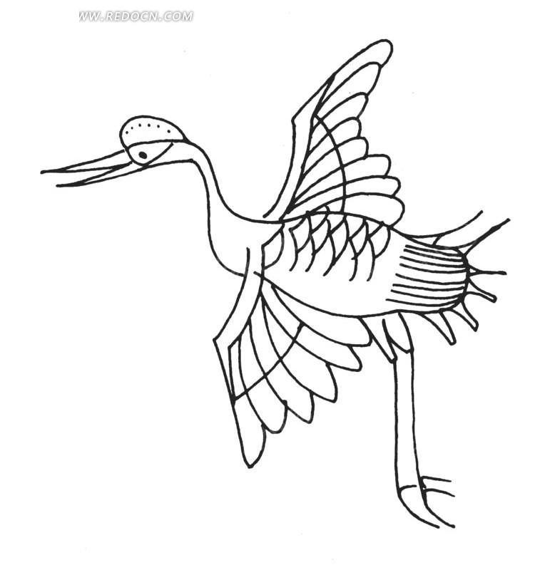 手绘线条展翅白鹤矢量图_传统图案