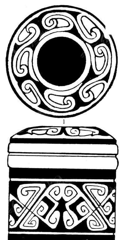 免费素材 矢量素材 艺术文化 传统图案 饰有圆环纹和卷曲纹的方形中国