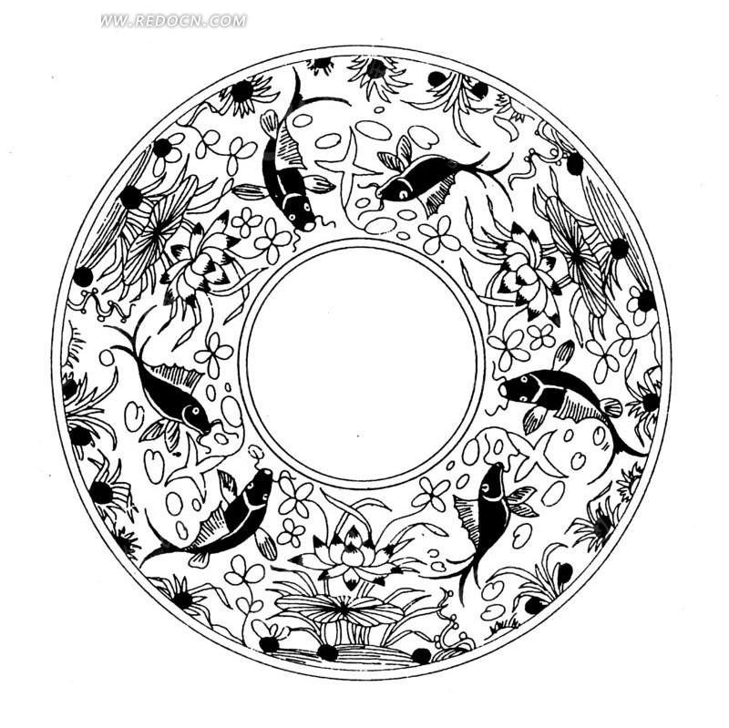 黑鱼 莲花纹 装饰纹 圆盘 线条画 盘子 ai矢量文件 传统图案 矢量素材