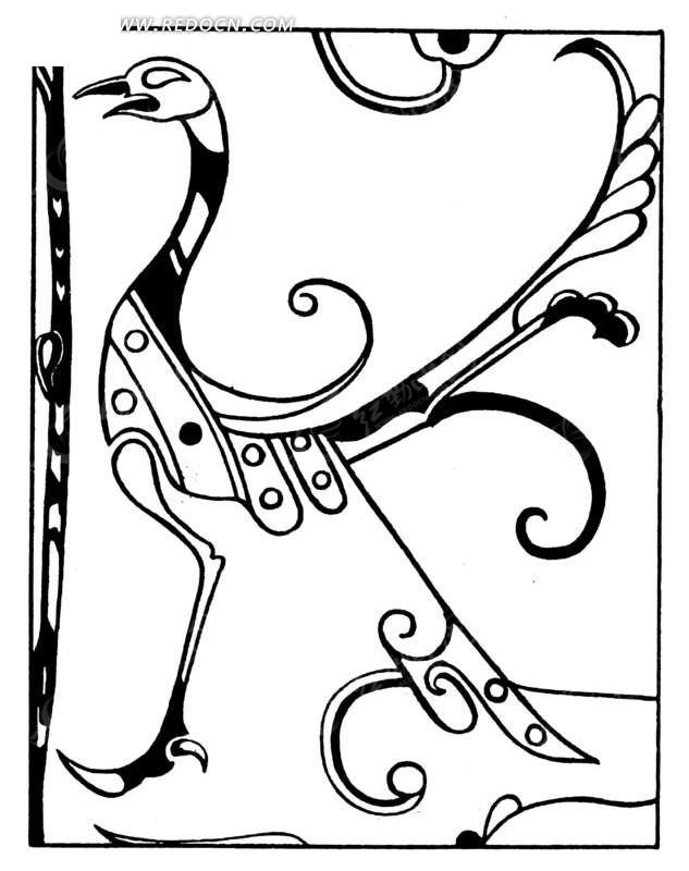 黑白线条的古典凤凰矢量素材