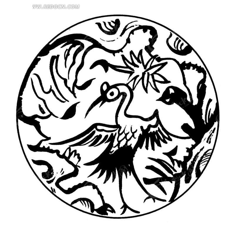 中国古典图案-展翅的仙鹤构成的圆形图案