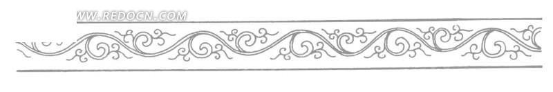 中国古典图案-卷曲的藤蔓和叶子构成的图案