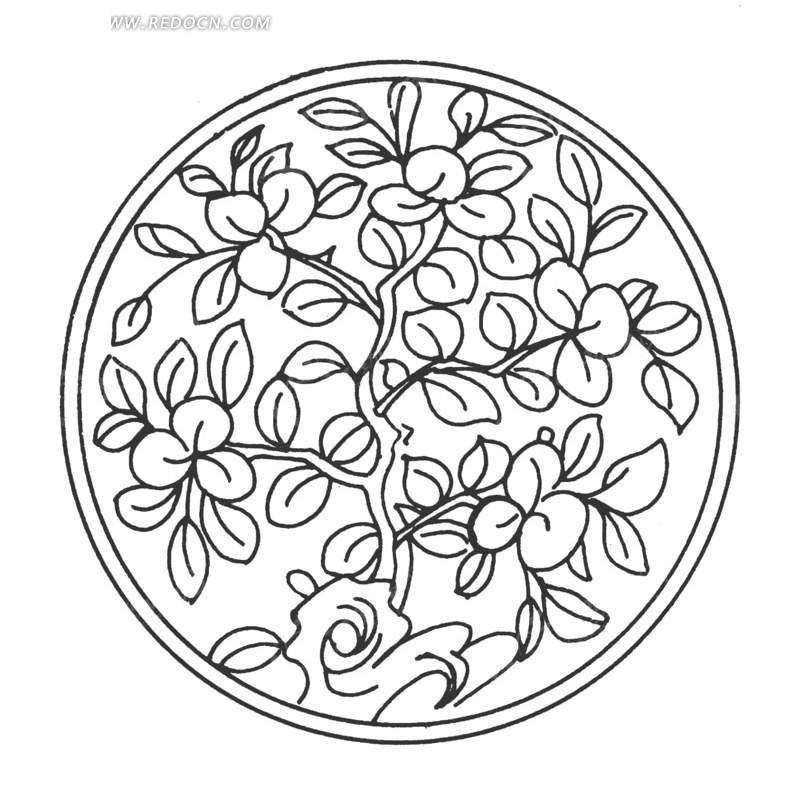 手绘圆环里的植物图片