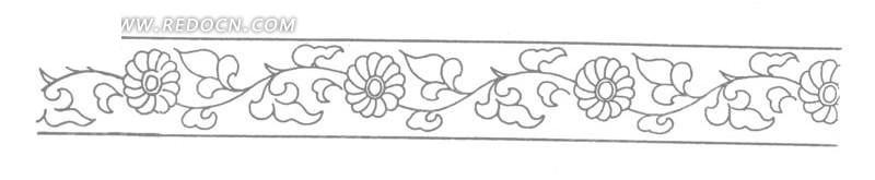 手绘藤蔓花叶菊花横幅