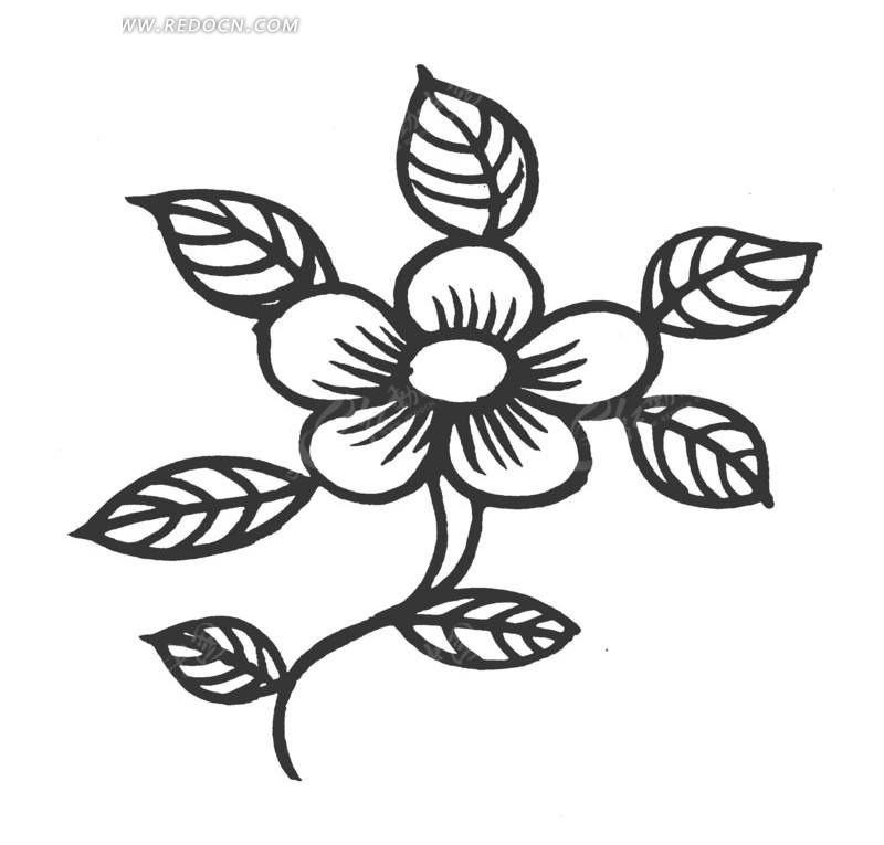 免费素材 矢量素材 艺术文化 传统图案 手绘桃花枝叶花饰  请您分享
