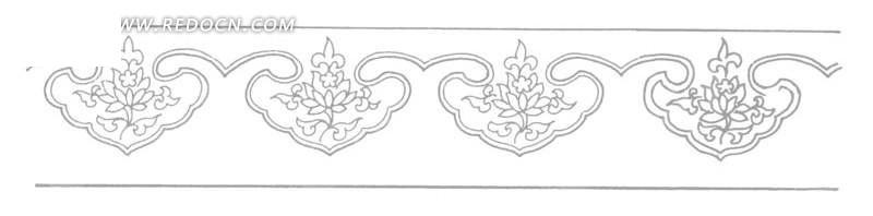 中国古典图案-如意形和花朵叶子构成的花边图片