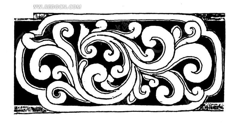 手绘木雕卷心叶蔓