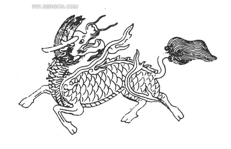 麒麟手绘线稿 麒麟 手绘线稿 黑白 传统图案 矢量素材