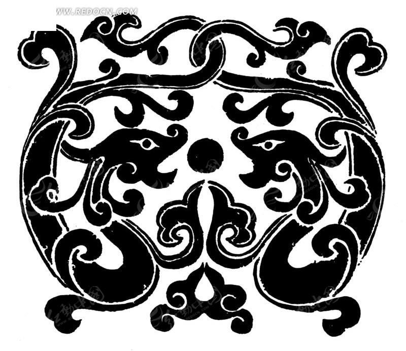 卷曲纹 斑驳 图案 中国风 中国古典 艺术 装饰 黑白  传统图案 矢量素