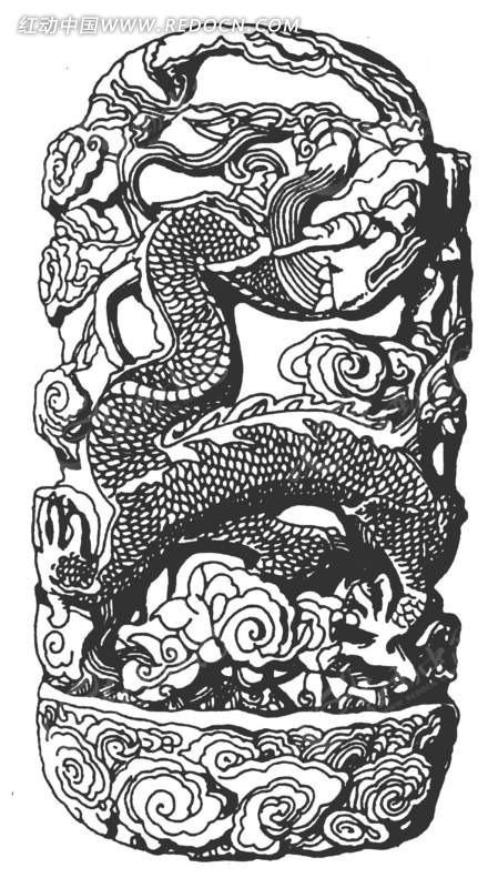 中国古代雕刻-龙纹和云纹矢量图图片