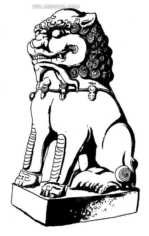 中国古代雕刻-蹲着的斑驳的狮子