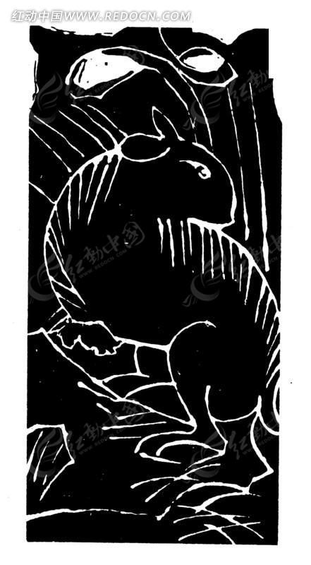 动物黑白版画简单