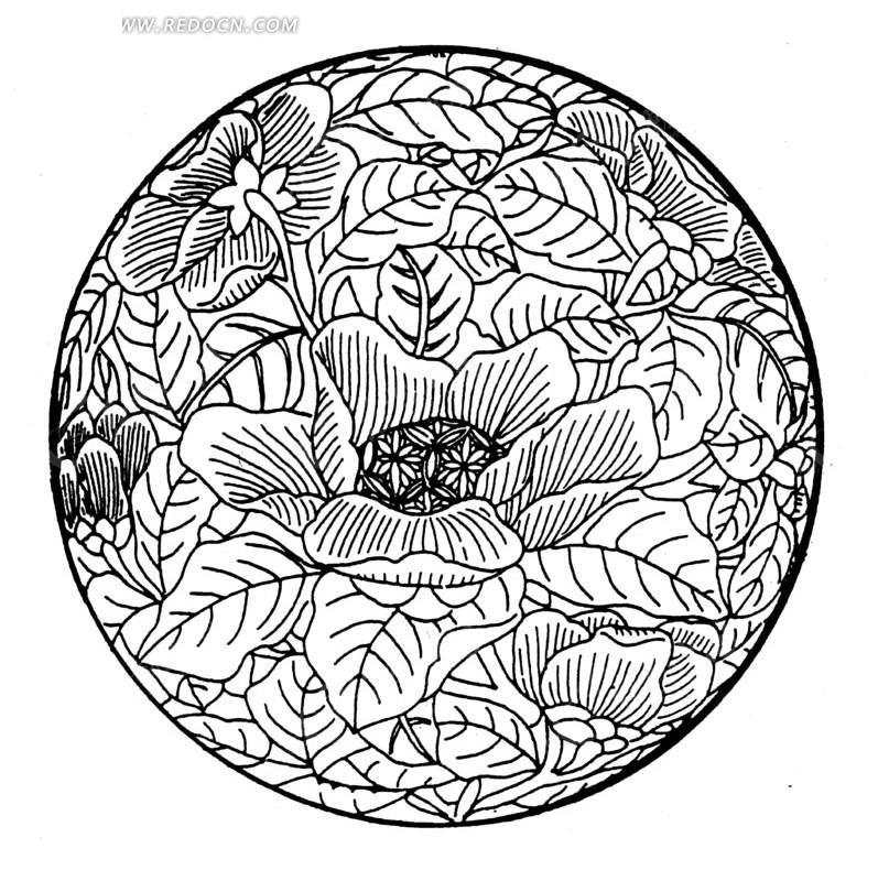 中国古典图案-带纹理的花朵叶子构成的圆形图案