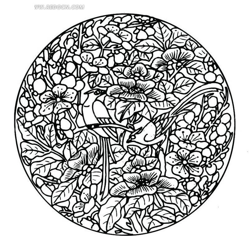 中国古典图案-花朵花蕾和叶子构成的圆形图案