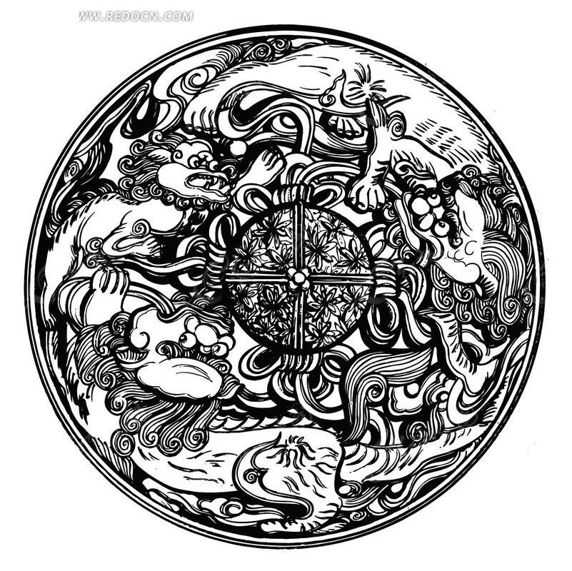 狮子简约手绘背景