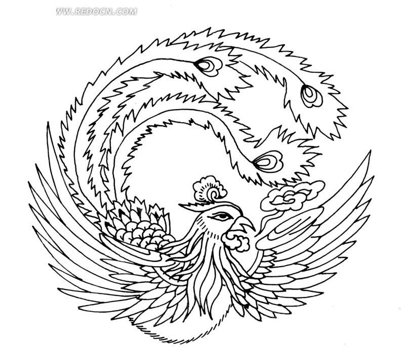 凤凰 展翅 精美 圆形图案 中国风 中国古典 艺术 装饰 黑白  传统图案