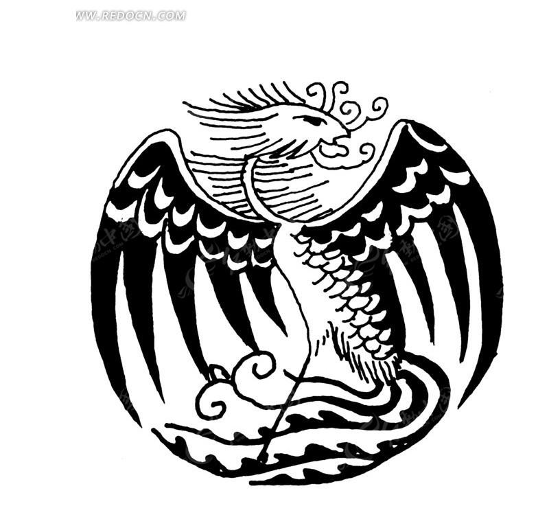 中国古典图案-展翅的凤凰构成的圆形图案