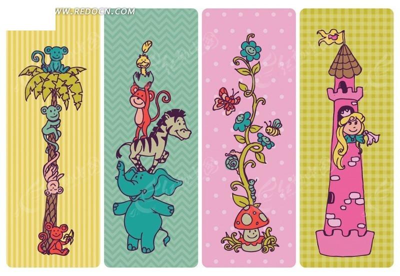 卡通动物花卉形象书签设计模板矢量素材
