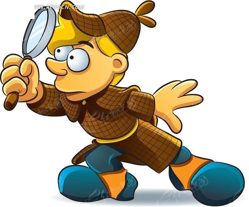 拿着放大镜的卡通小孩形象插画矢量素材
