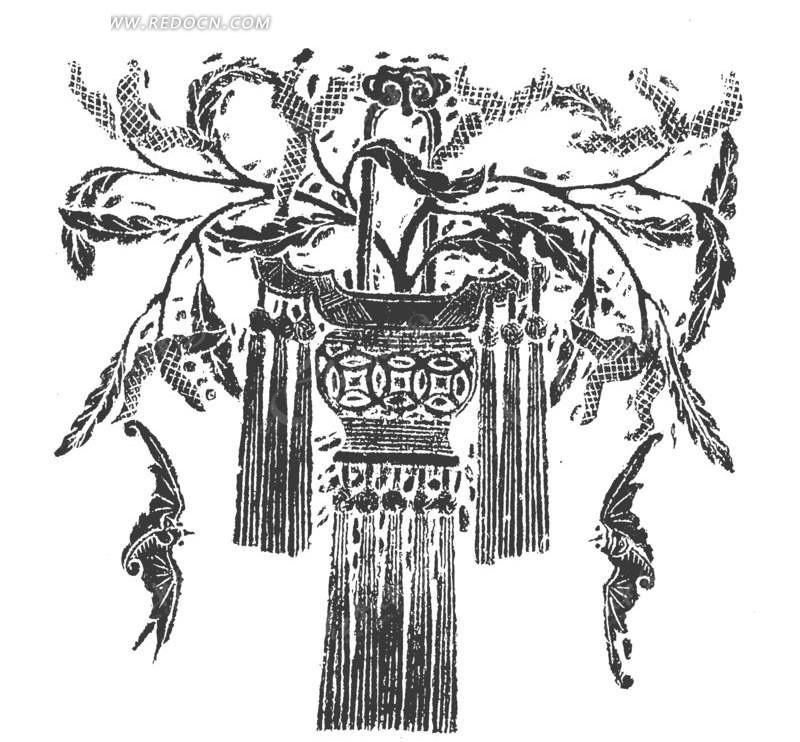 灯笼 传统灯笼 树枝 树 圆形灯笼 中国传统 传统文化 传统图案 传统