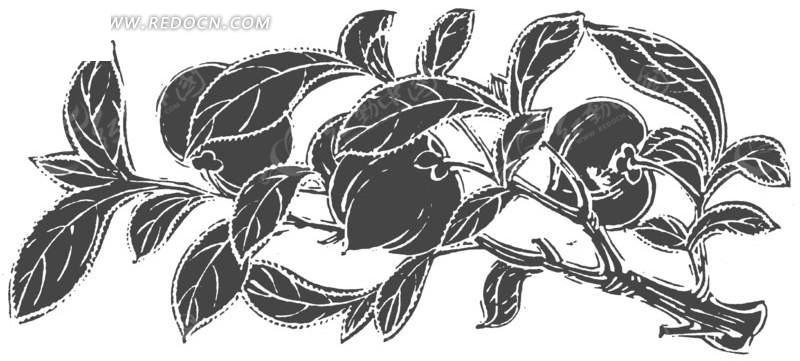 结着果子的树枝拓印图矢量图_传统图案