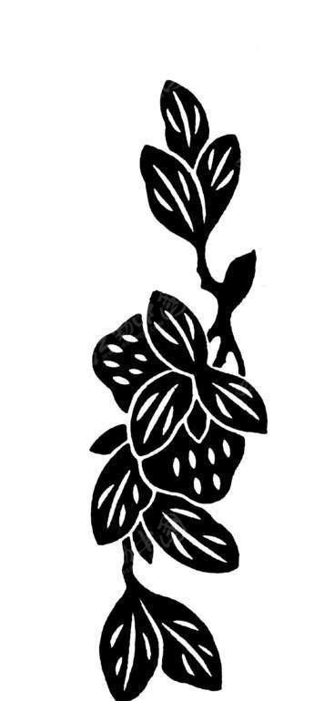 草莓果实和脉纹枝叶构成的竖图图案