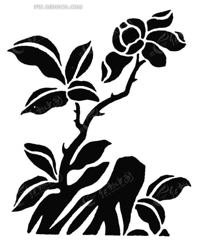 手绘矢量黑色树枝花朵插画剪影