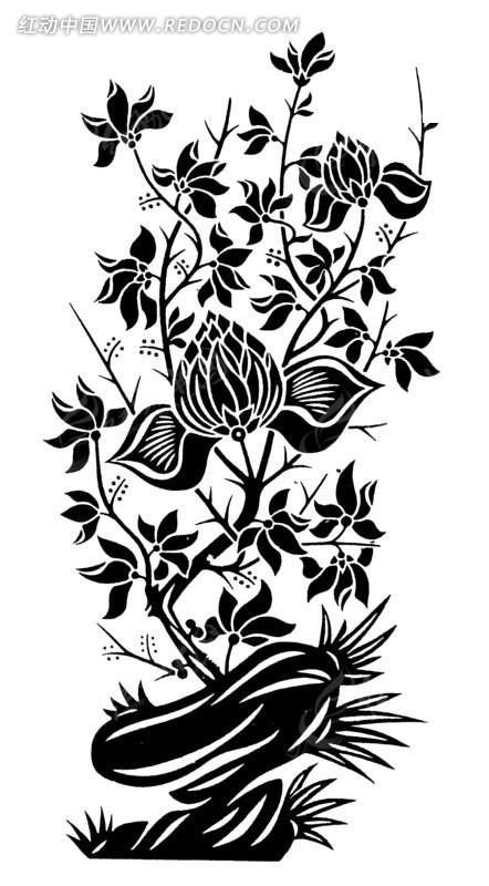 矢量创意手绘植物花朵叶子插画图形