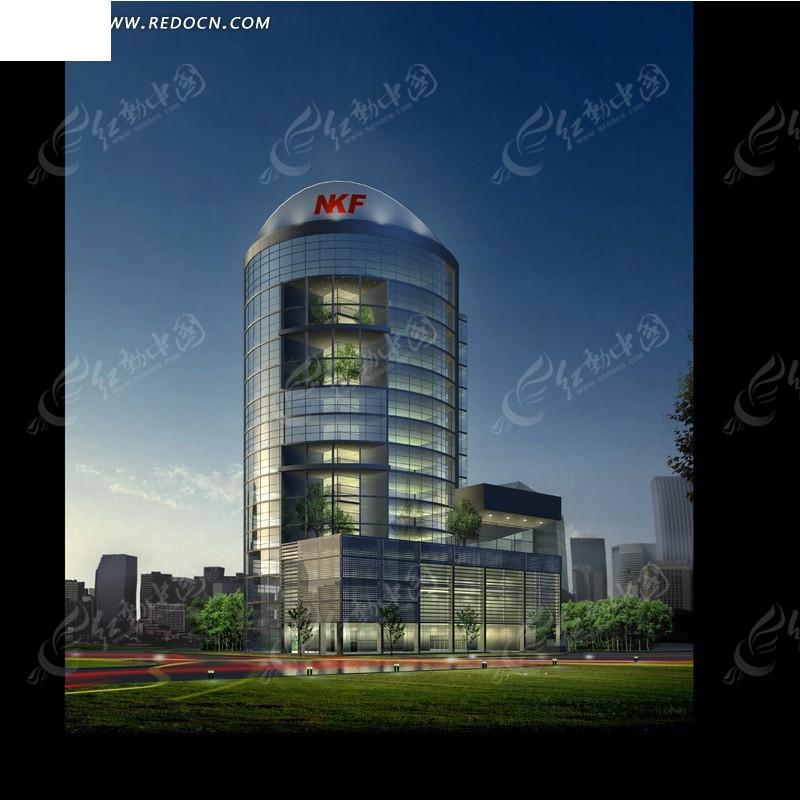 现代简洁nkf公司大楼设计效果图_建筑模型图片