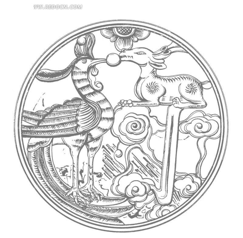 飞鸟 动物 云纹 圆形图案 中国风 中国古典 艺术 装饰 黑白  传统图案