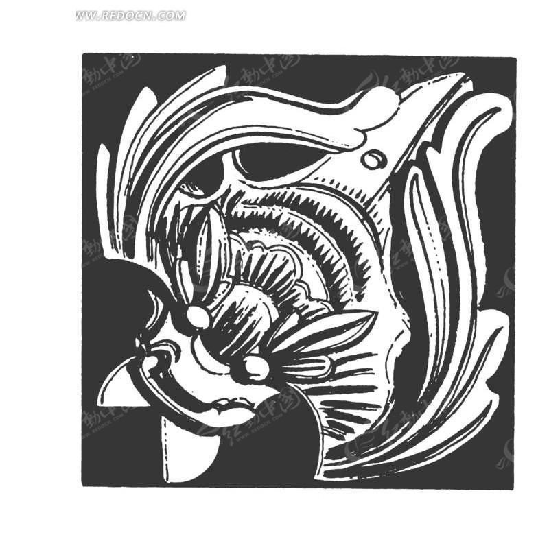 动物 展翅 图案 中国风 中国古典 艺术 装饰 黑白  传统图案 矢量素材