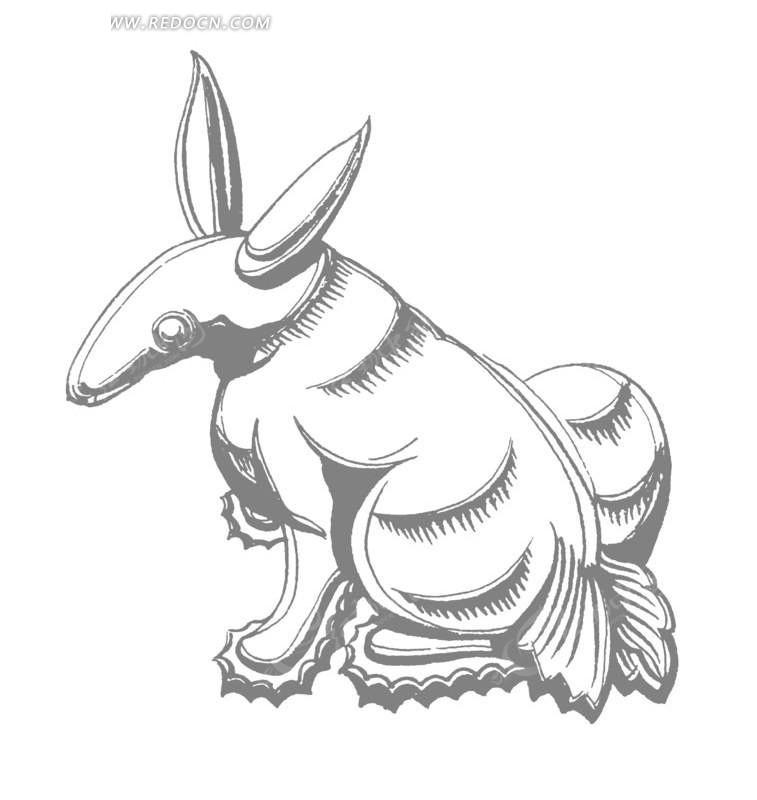 中国古典图案-蹲着的动物构成的图案